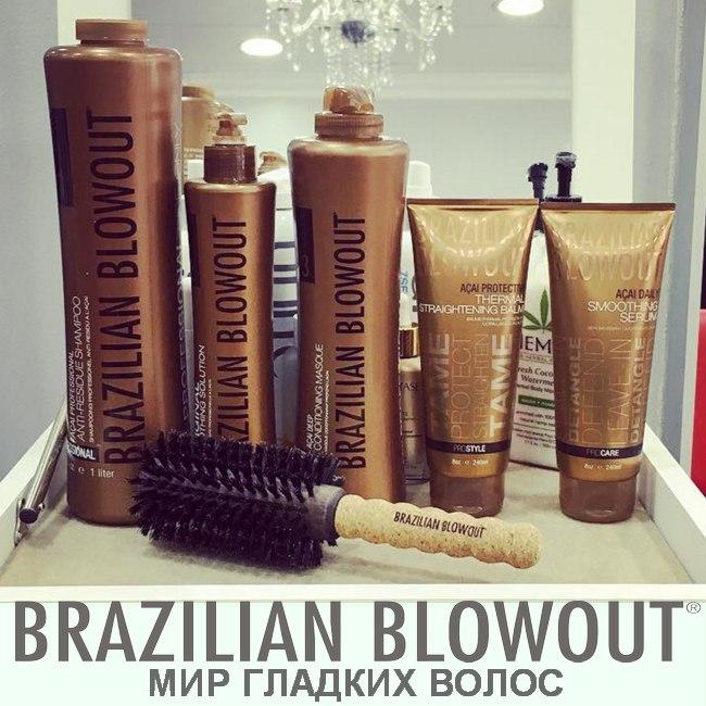 Выпрямление волос Brazilian Blowout, запечатывание кончиков cо скидкой 50%