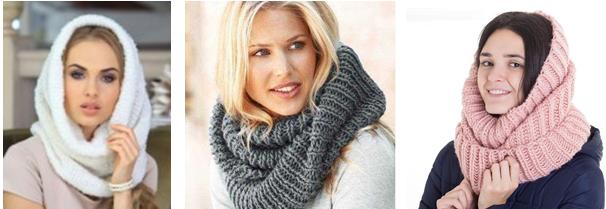 Модные шарфы-хомуты и сенсорные перчатки от 7 руб.