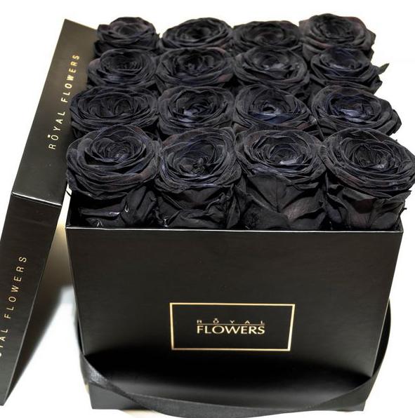 картинки черные розы в коробке