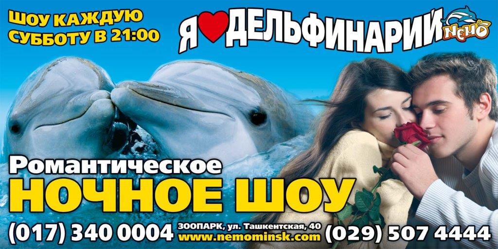 """9 декабря романтическое ночное шоу в дельфинарии """"Немо"""" за 14 руб."""