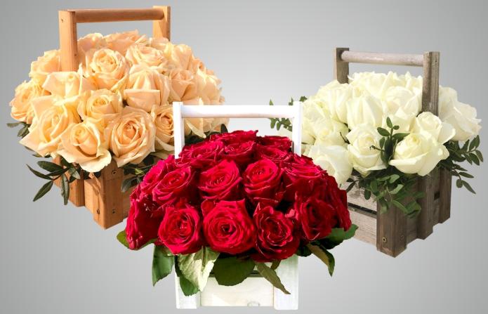 """35 роз в дизайнерском ящике всего за 30 руб, розы от 1,15 руб/шт от """"Розочка.бел"""""""