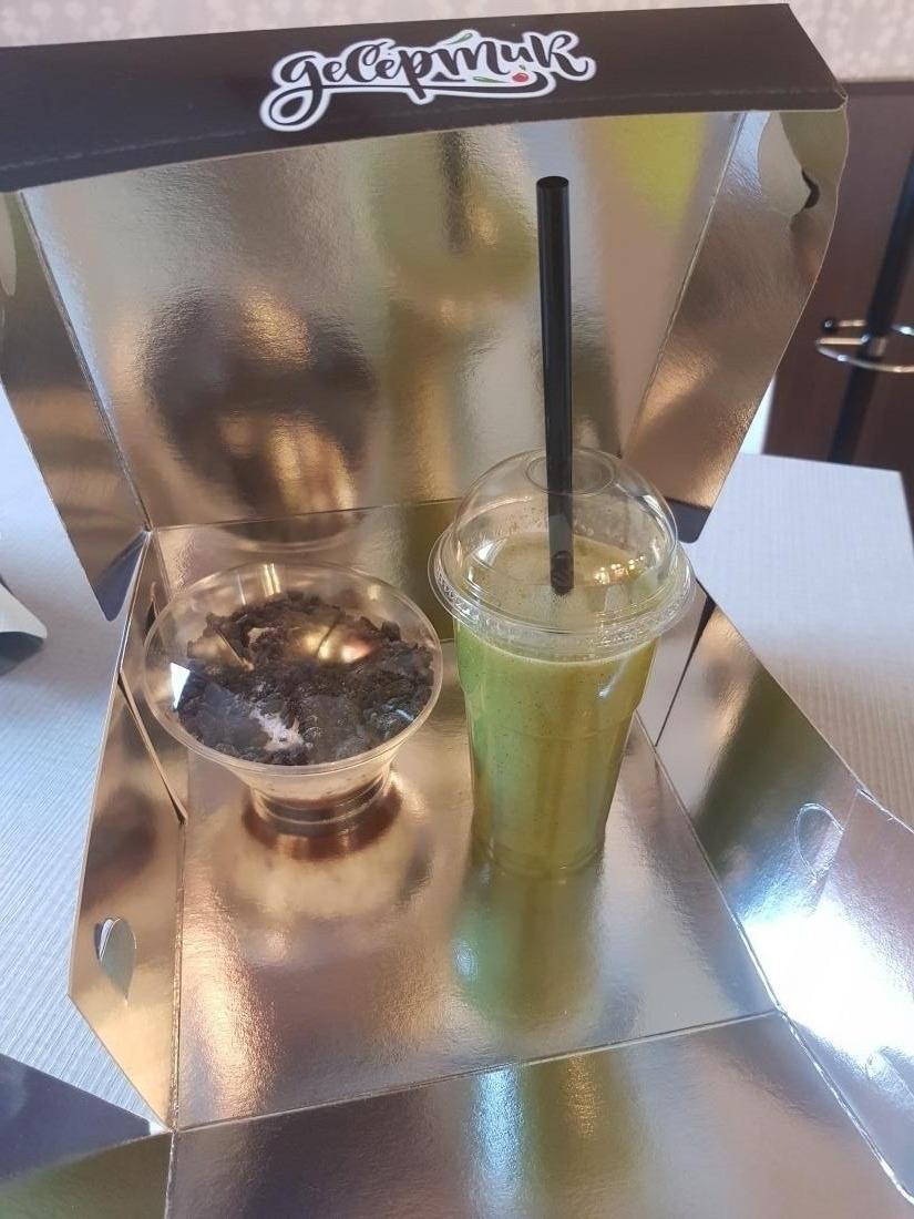 """Детокс-коктейль/капучино +  десерт в кофейне """"Десертик"""" от 3,65 руб."""