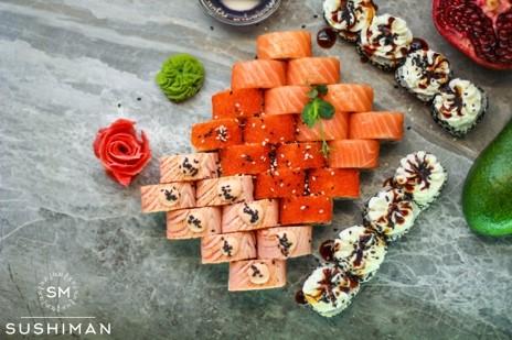 """Свежие суши-сеты от """"SUSHIMAN"""" с бесплатной доставкой или навынос от 17,50 руб/от 600 г + подарок!"""
