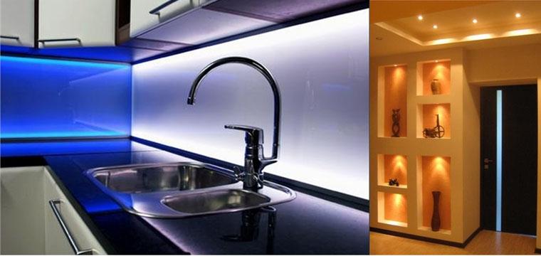 Как установить светодиодную ленту на кухне своими руками