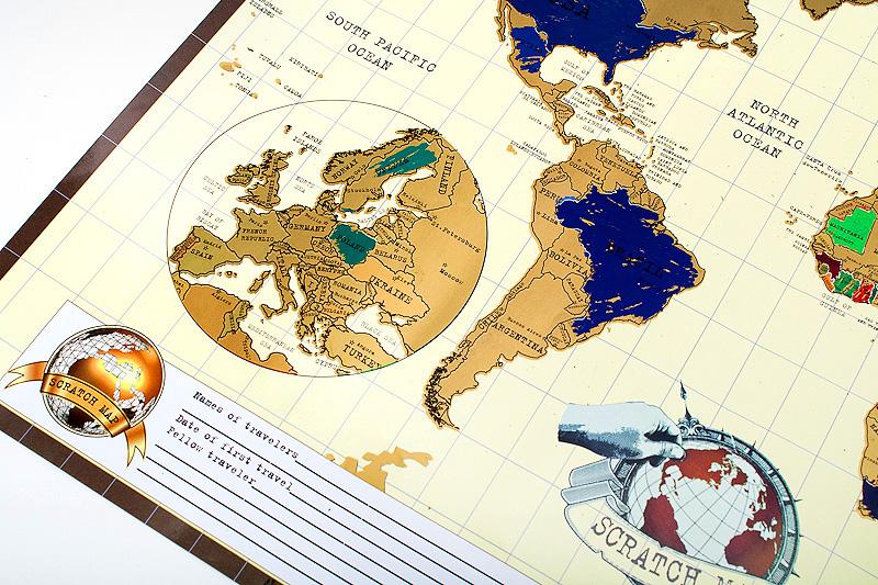 Скрэтч-карта мира на рус./англ. языках, набор со светящейся картой звездного неба от 12,90 руб.